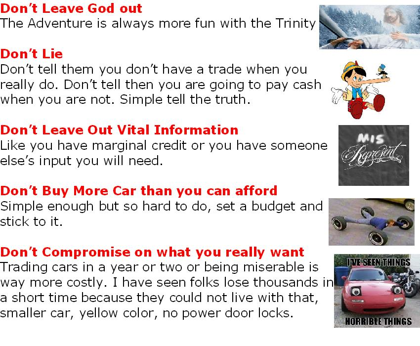 Five No Nos of Buying A Car